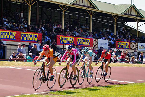 Juniors fly by in the Wheelrace final in front of a full house at Latrobe.