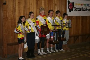 The Mersey Valley Junior Tour does it right with winner's jerseys, trophies and speeches from the riders.