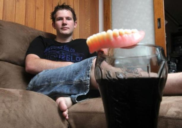 Don't be like this guy... drink sports drinks that don't rot your teeth.