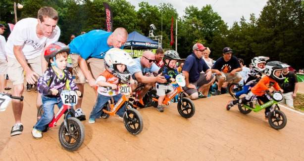 Unlike road and track cycling BMX offers racing for kids as young as 3 and 4.