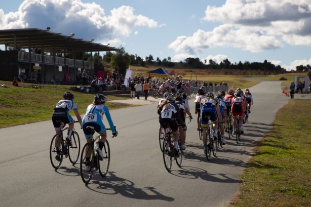 The Stromlo Forest Park criterium track offers great viewing and protection from the elements.