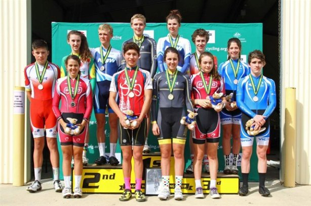 The combined ITT podium from 2013 Junior Road Nats held in Wagga Wagga - lots of State kit!