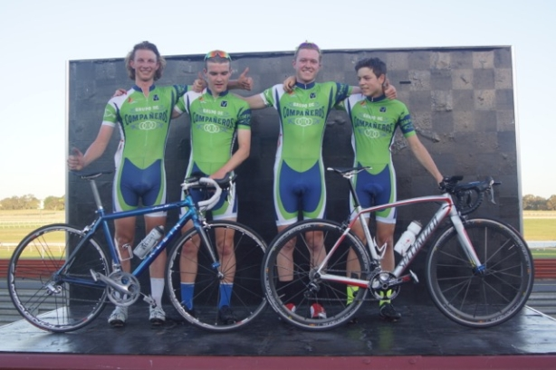 The Compañeros won the VICS senior TTT held at Sandown late in 2014.  (l-r: Kallum Parlevliet,  Hamish Weber, Carter Turnball)