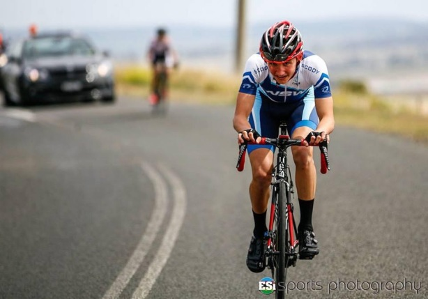 Mitch Wright in NSW colours  on his way to victory in the under-15 national road championships last year in Toowoomba.