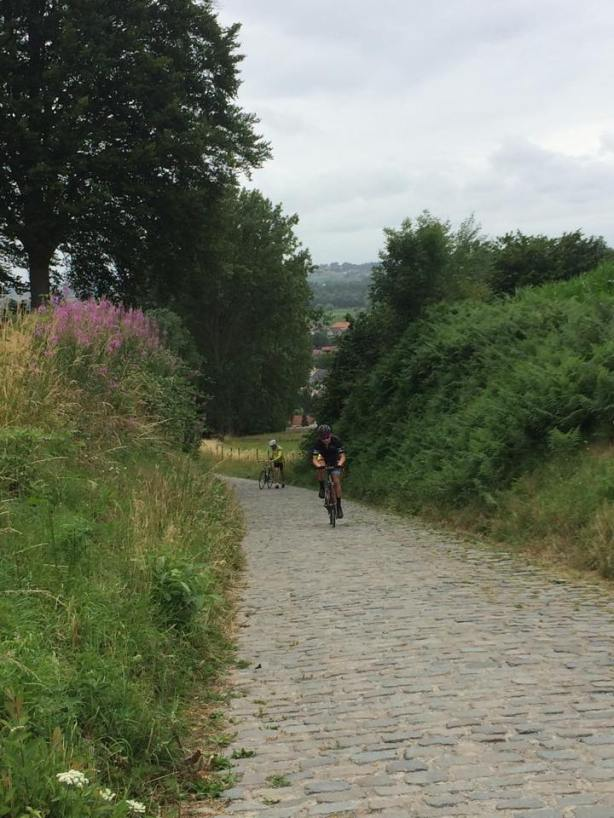 Mitch stomping up the Koppenberg…
