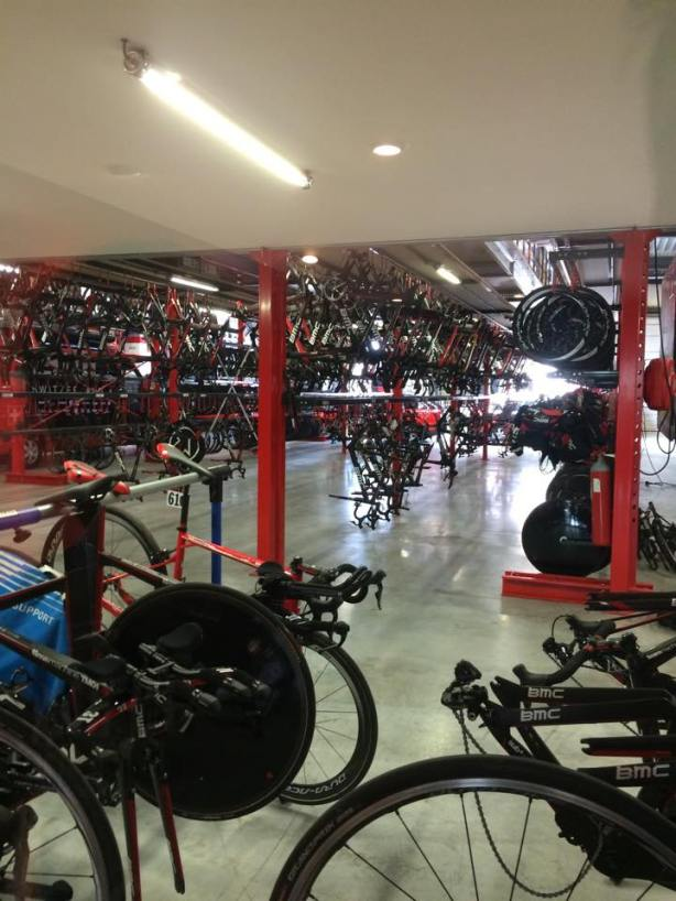 I wonder how many dollars worth of bikes and cycling equipment is under this one roof?  Certainly hundred's of thousands!  Heaven...